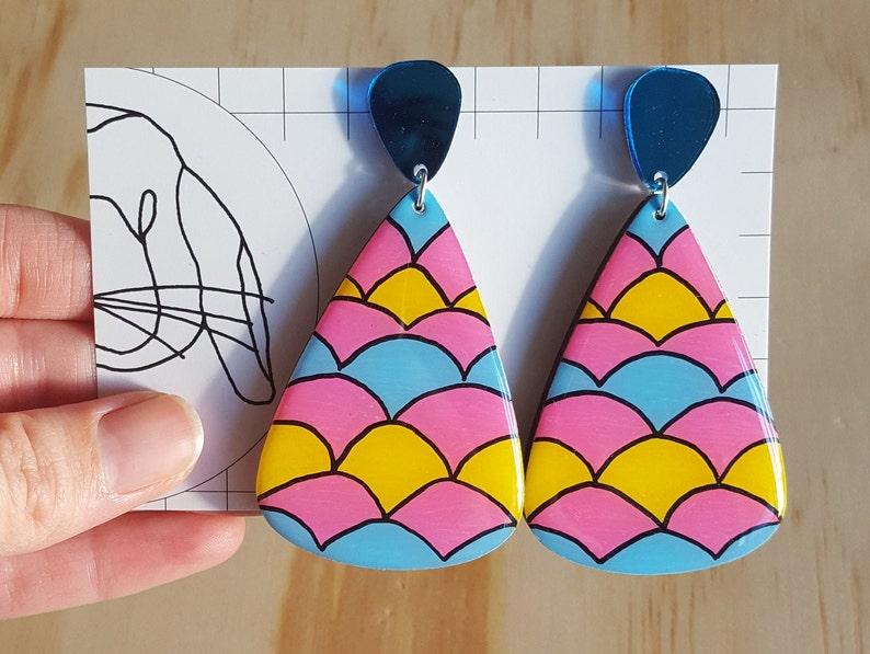 Handpainted Resin Large Dangle Teardrop Earrings image 0