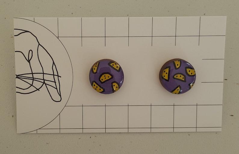 Handpainted Resin Stud Earrings  Large image 0