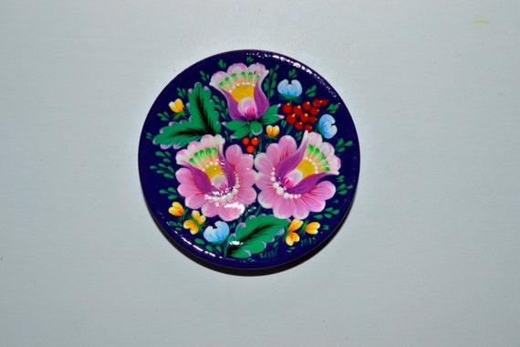 En bois plaque aimant pour la peinture de votre réfrigérateur à la main rose fleur peinte à la main Petrikivka