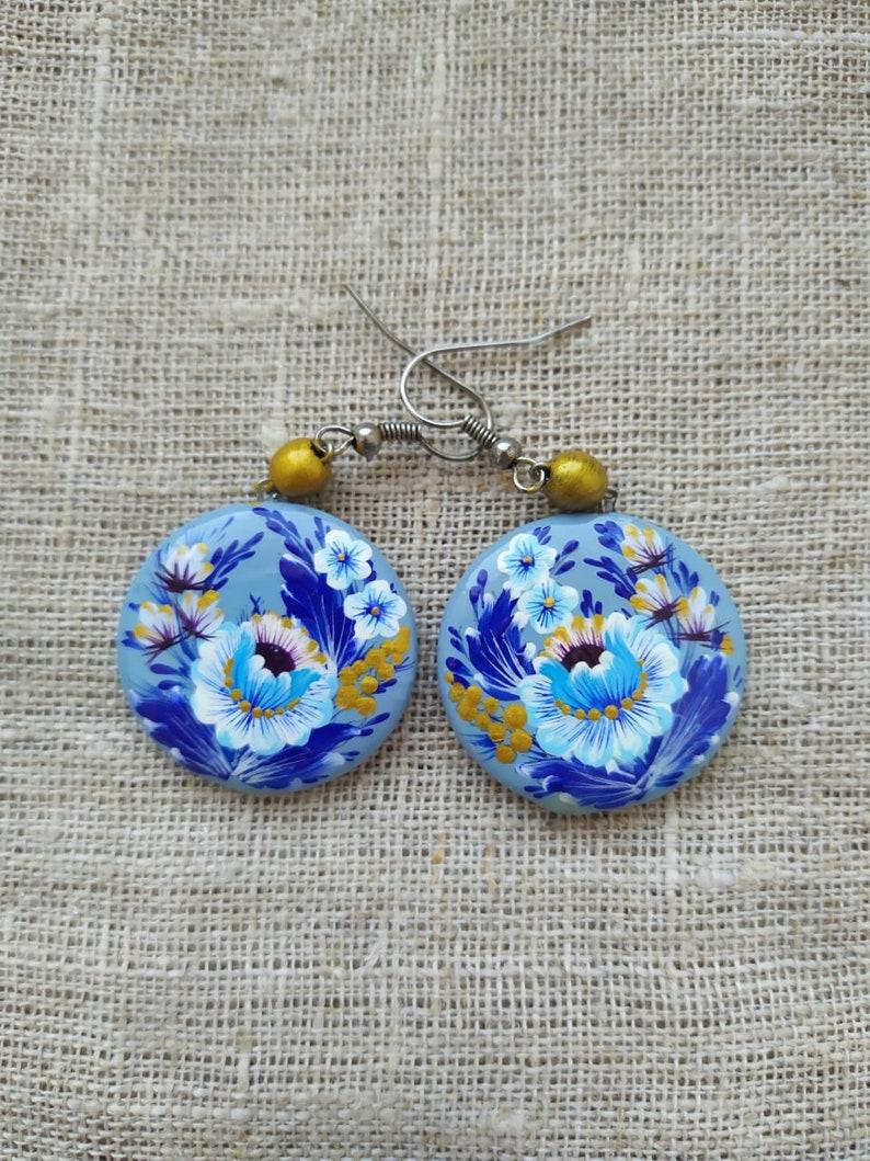 Flower Blue Wooden handmade Round Earrings Doublesided handpainted Petrikivka painting