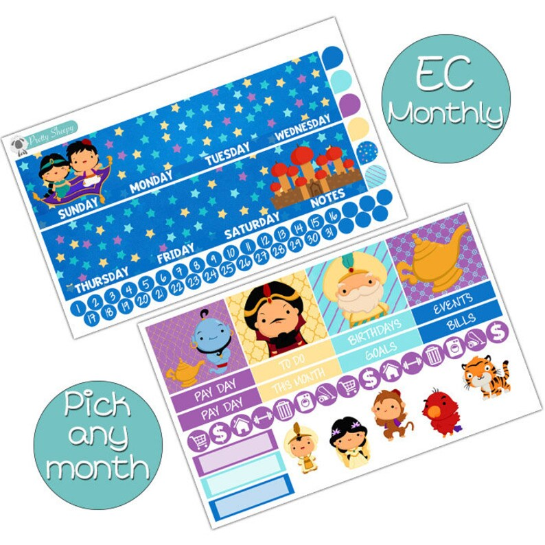 Aladdin Monthly Kit for EC Life Planner Disney Planner Stickers Pick any Month!