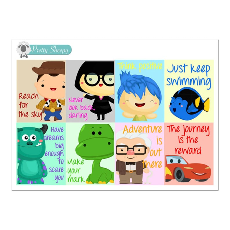 Pixar Quotes Full Box Stickers Disney Planner Stickers Etsy