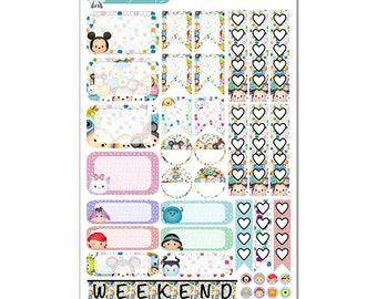 Tsum Tsums Stickers (Various Planner Boxes & Checklists) - Disney Planner Stickers