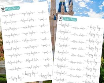 Disney Day Scripts - Disney Planner Stickers