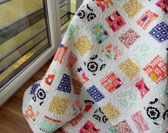 Twin Quilt / Twin Size Quilt / Bed Quilt / Patchwork Quilt / Twin Blanket / Full Quilt / Twin Bedding / Modern Quilt