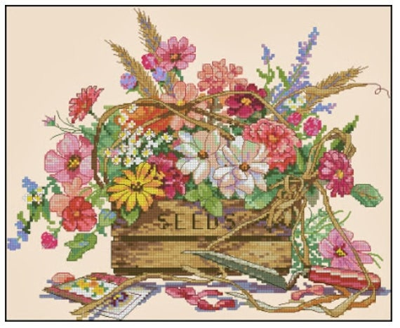 CROSS STITCH CHART  SPRING FLOWERS CHART BASKET BLOOMS FLORAL CHART