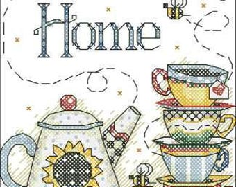 Home sweet home Tea with honey and bees| Cross Stitch Pattern | Needlepoint Chart | Instant download