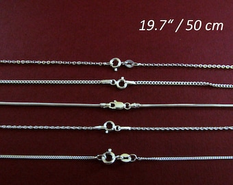 "Chain 19.7"" 925 Sterling Silver to use with pendant or for only single"