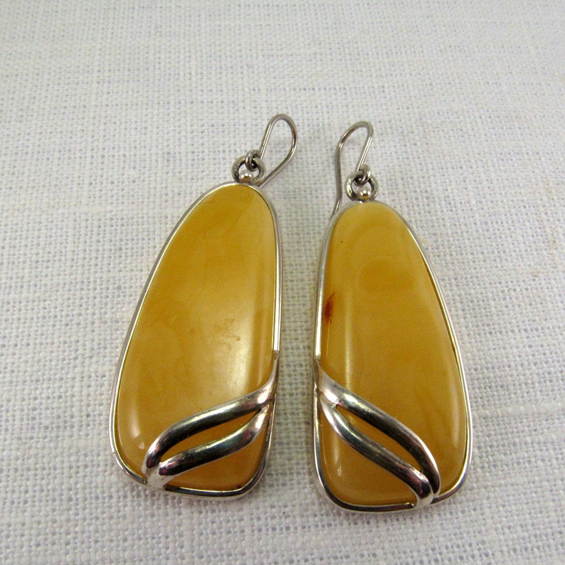 2.25 Natural Baltic Amber Yellow Slabs Amber Earrings Set in Sterling silver Massive Baltic Amber Butterscotch Earrings