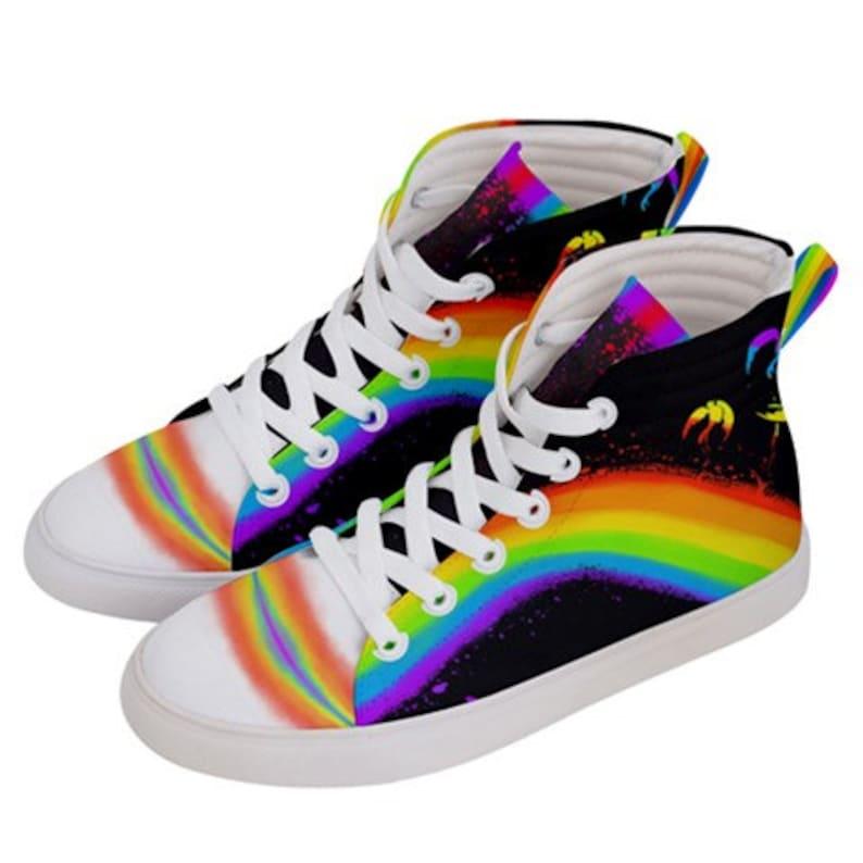 6184d51da Men's Pride Flag High Top Shoes   Etsy
