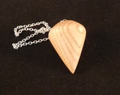 Wooden Dowsing Pendulum English Ash Wood handturned in Devon with your choice of crystal bead