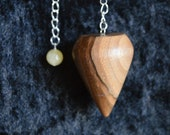 Wooden Pendulum English Plum Wood handturned in Devon, for healing, Reiki, meditation and dowsing with your choice of crystal bead