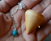 Wooden Dowsing Pendulum English Alder Wood handturned in Devon with your choice of crystal bead