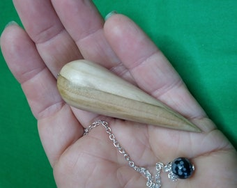 Wooden Dowsing Pendulum English Rowan Wood handturned in Devon with your choice of crystal bead