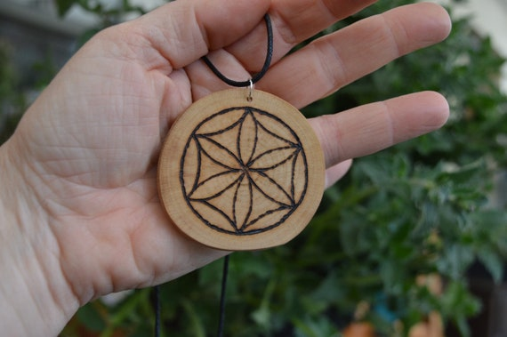 Wooden Amulet with Triquetra pyrography design pendant option available!