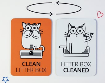 Cat litter magnet gift for cat lover or crazy cat lady | Chore litter box reminder magnet