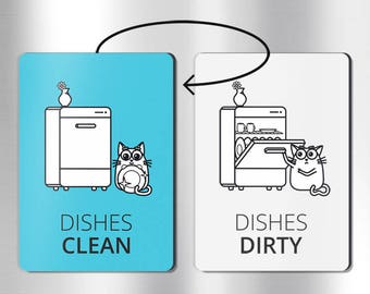 Double-sided clean dirty dishwasher magnet: clean dirty magnet, clean dirty sign, dishwasher magnet flip, dishwasher magnet funny