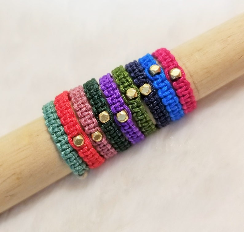 Custom HANDMADE faceted brass bead  lucky rope knot Ring 9 different color
