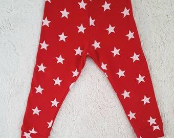 c5fcd3443 Red star leggings, baby, toddler peg legs, kids pants