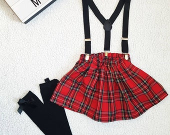 f5059b4203 Tartan skirt, braces and topknot set, Red tartan, plaid, Girls skirt, baby  girls skirt, Christmas outfit, skirt and socks, kilt