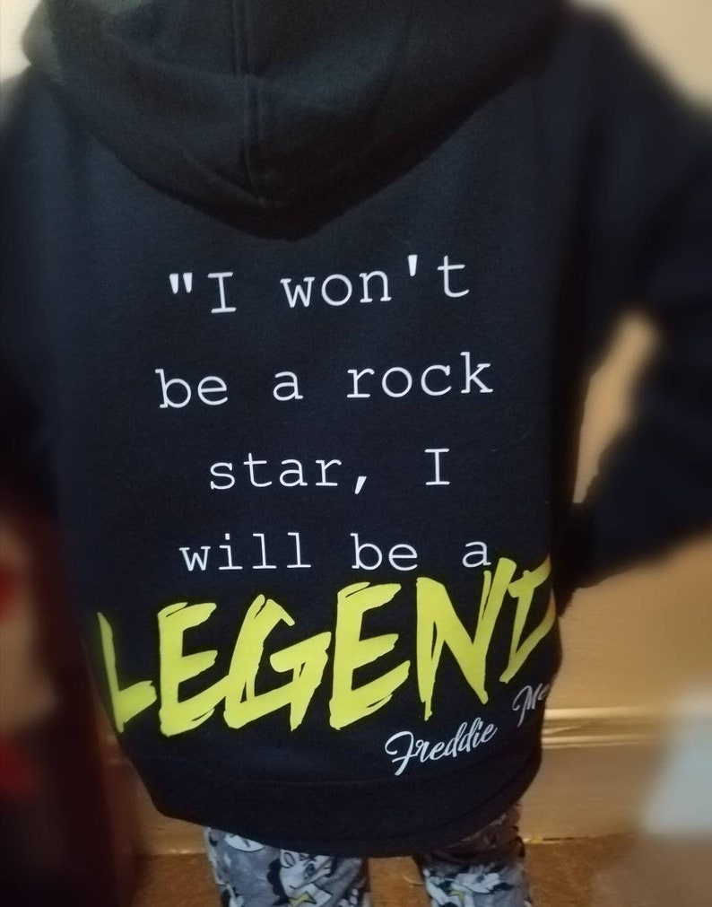 monochrome unique toddler I will be a legend rock star child I won/'t be a rock star zip up hoody black quote wild child queen