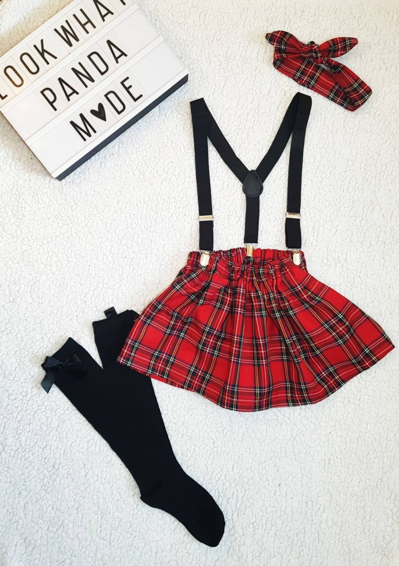48772324bb7577 Tartan skirt braces and topknot set Red tartan plaid Girls | Etsy