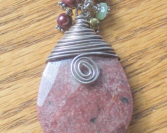 Wire  Wire Wrapped Pendant,  Rhodonite Pendant, Pendant with Bangles, Wire Wrapped Kewe;ry, For Her