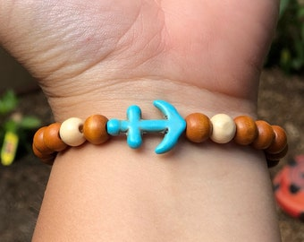 Anchor and Wood Beaded Bracelet