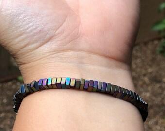 Iridescent Square Beaded Bracelet