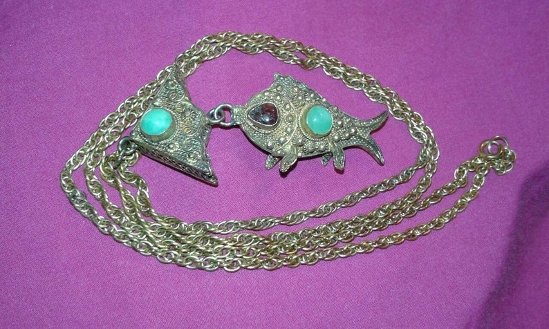Gold gilt solid sterling filigree silver tourmaline untreated image 0