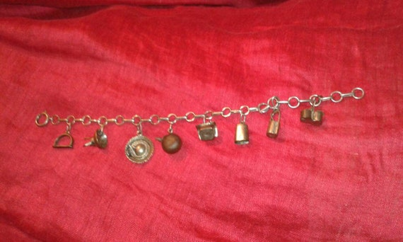Solid silver 1950s Mexican Southern charm bracelet