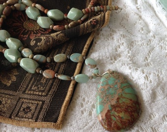 African Opal Sea Sediment 16 inch Necklace with Hand Made Sterling Silver Clasp