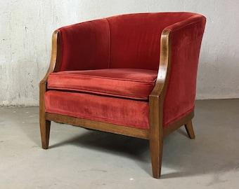 Red Velvet Chair Etsy