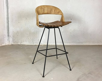 Unique Wrought Iron and Leather Bar Stools