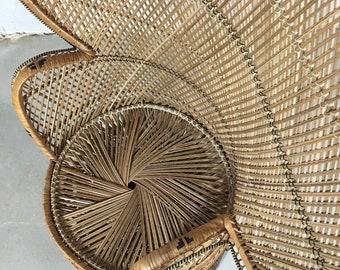 Vintage Peacock Chair, Rattan Chair, Rattan Furniture, Wicker Furniture, High  Back Fan