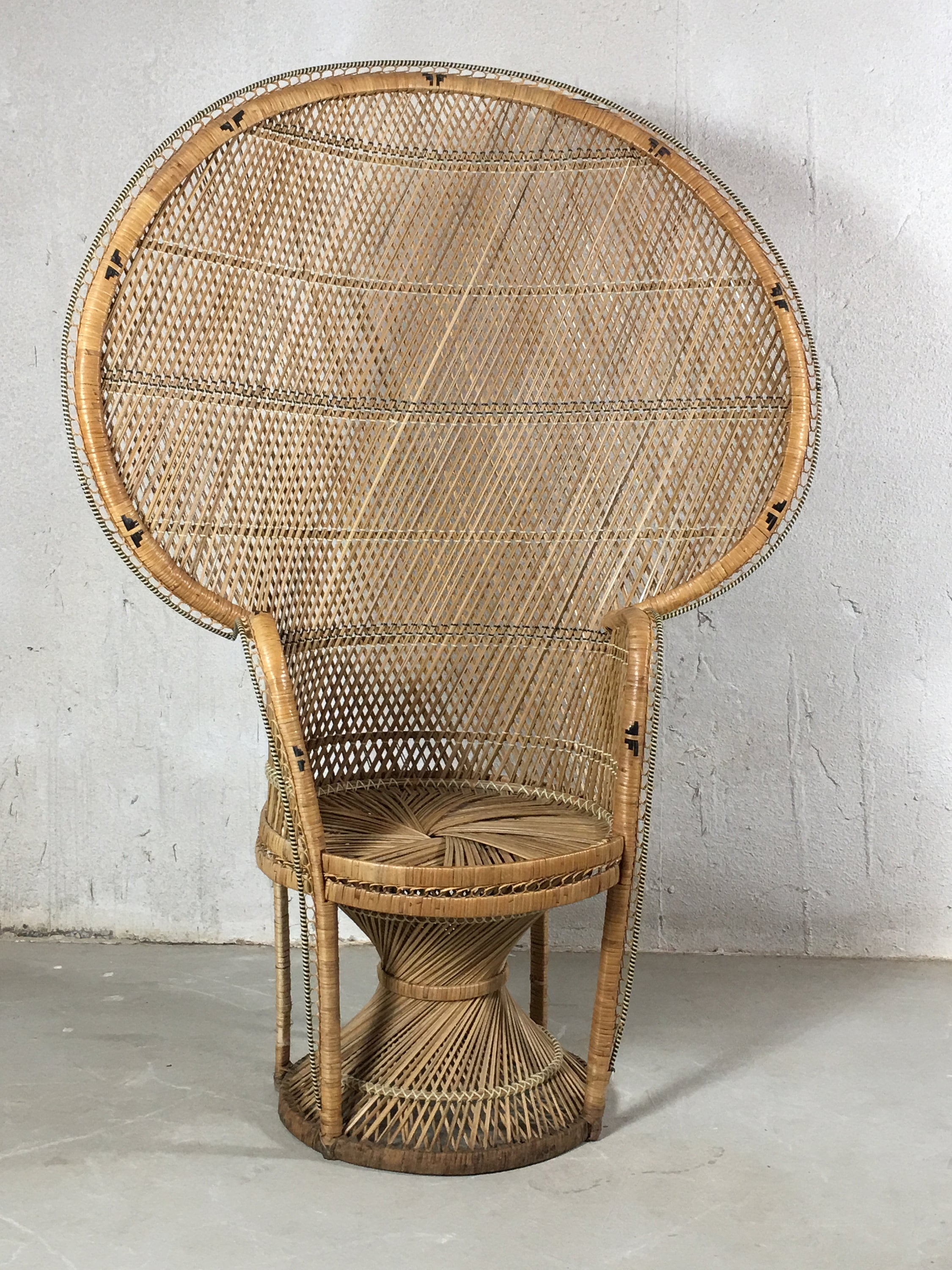 Vintage Peacock Chair, Rattan Chair, Rattan Furniture, Wicker Furniture,  High Back Fan Back Boho Decor, Bohemian Decor, Mid Century Wingback