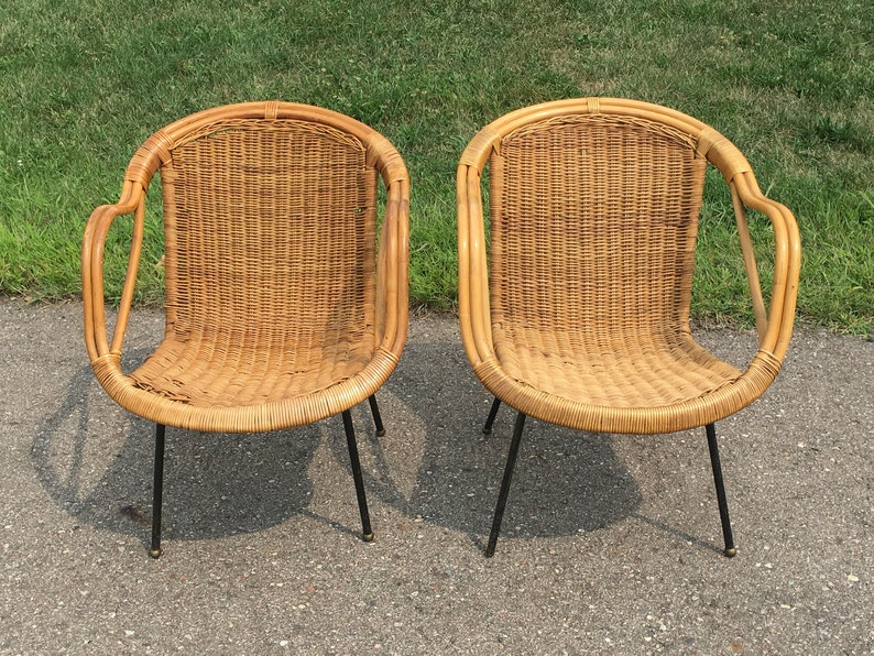 Pair Vintage Rattan Chairs Rattan Furniture Wicker Etsy