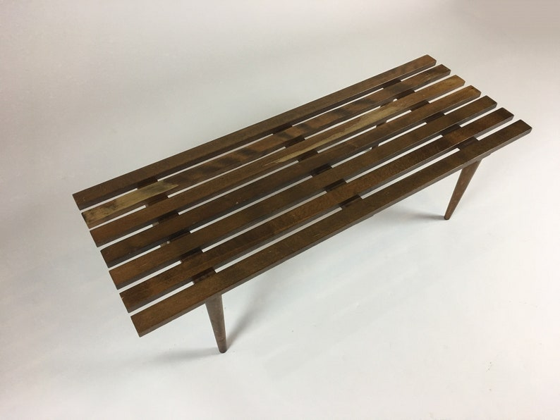 Slat Wood Bench Slat Coffee Table Wooden Bench Modern Etsy
