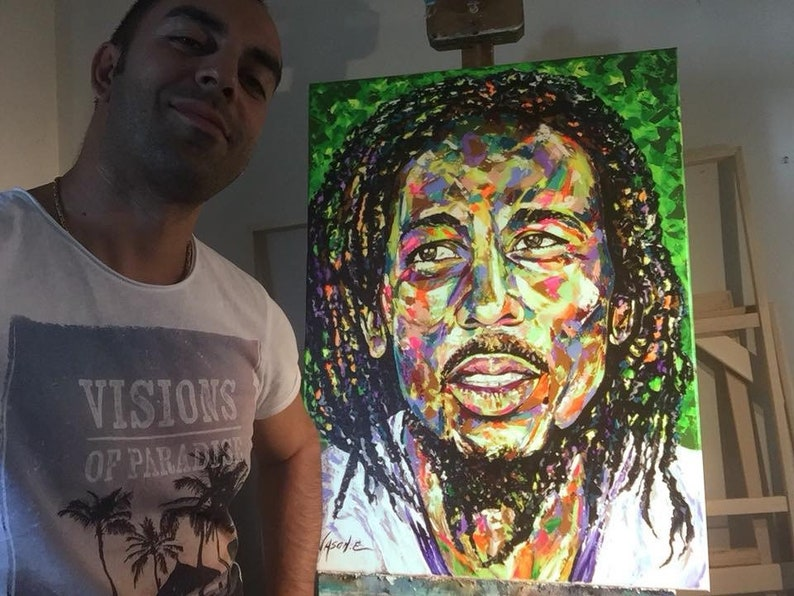 BOB MARLEY Legendary Reggae Singer and Songwriter Oil on Canvas painting   Made to any size order  All sizes svailable  Jamaican Artwork