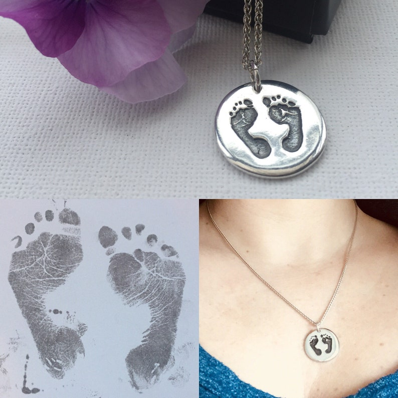 266315a54 Silver Handprint & Footprint Charm Necklace Personalised | Etsy