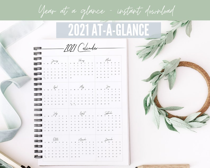 2021 Year at a Glance Calendar Year Printable Planner ...