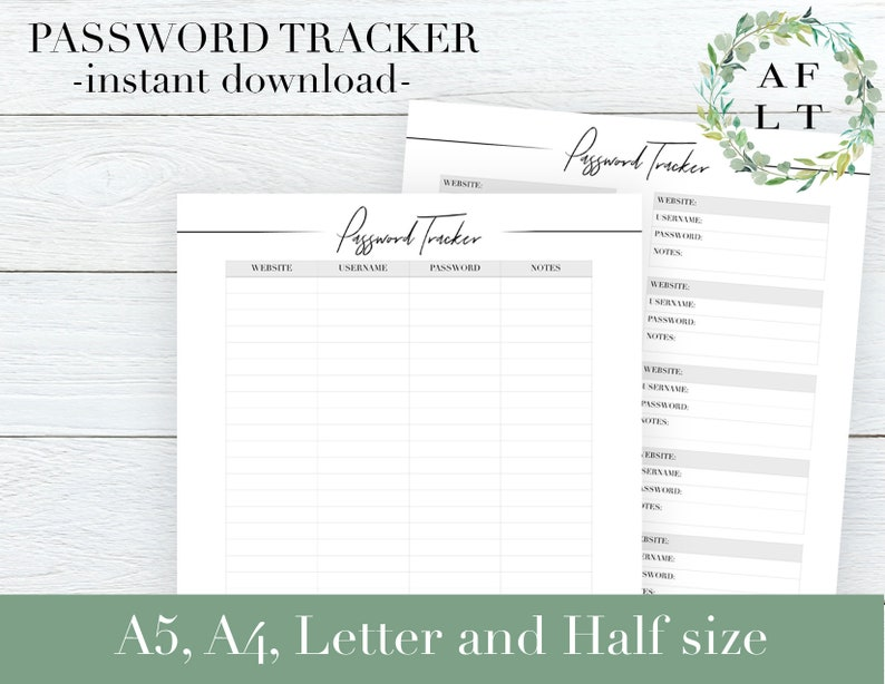 photograph about Password Tracker Printable identified as Pword Tracker Printable Pword Keeper Tracker Pwords Log Pword Organizer Pwords Tracker Sheets for Planner Inserts