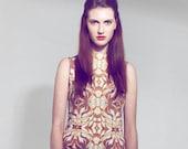 Printed Silk Dress - Dark Orange Dress - Printed Dresses - Party Dress - 70 39 s Inspired Wiggle Dress -Pencil Dress - Sleeveless Dress