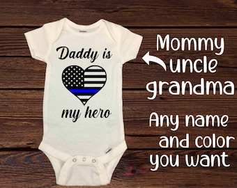 Dad Birthday Baby Outfit My Dad/'s My Hero Baby Bodysuit Cop Baby Shirt Dad Hero Kids Shirt Baby One Piece Dad Birthday Cop Father Gift