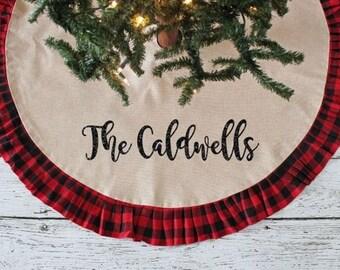 plaid tree skirt personalized tree skirt plaid christmas decor farmhouse christmas christmas decorations personalized decor - Christmas Tree Skirts Etsy