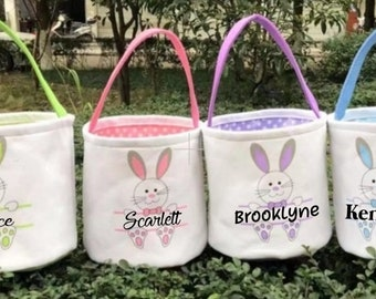 Personalised Easter Egg Hunt Bunny Rabbit Face Girls Canvas Draw String Bag