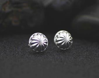 91bb7ccbb Sterling Silver Stud Cut Ball Earrings, 925 Silver Ball Stud Earrings, Silver  Half Ball Stud Earrings, Large Ball Stud, Modern Stud Earrings