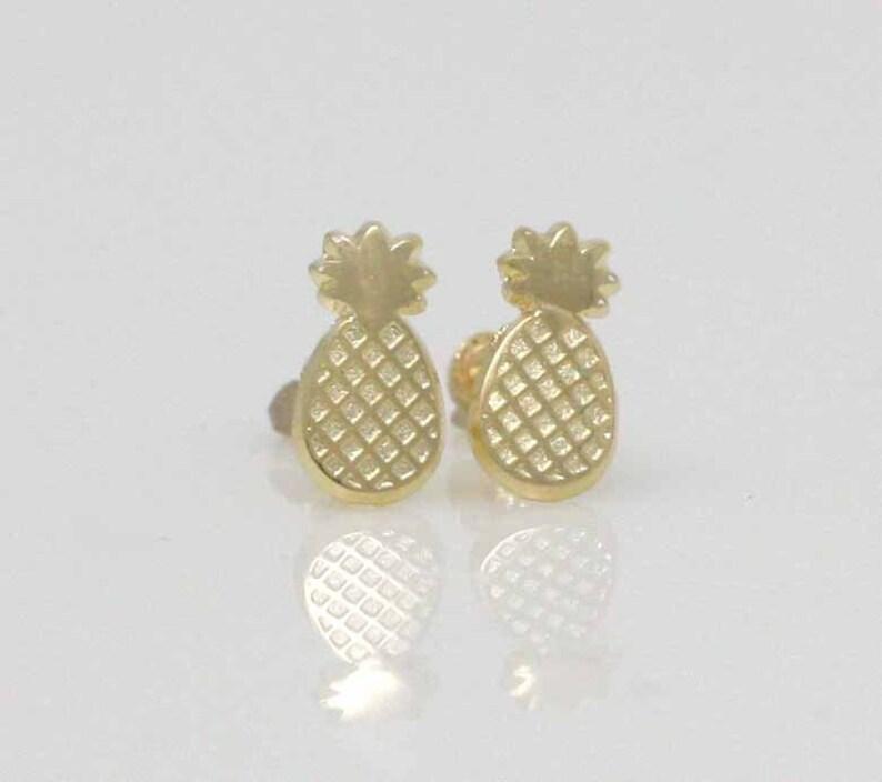 14K Pineapple Stud Earrings 14K Gold Pineapple Stud Earrings 14K Gold Stud Pineapple Earrings with Screw Back