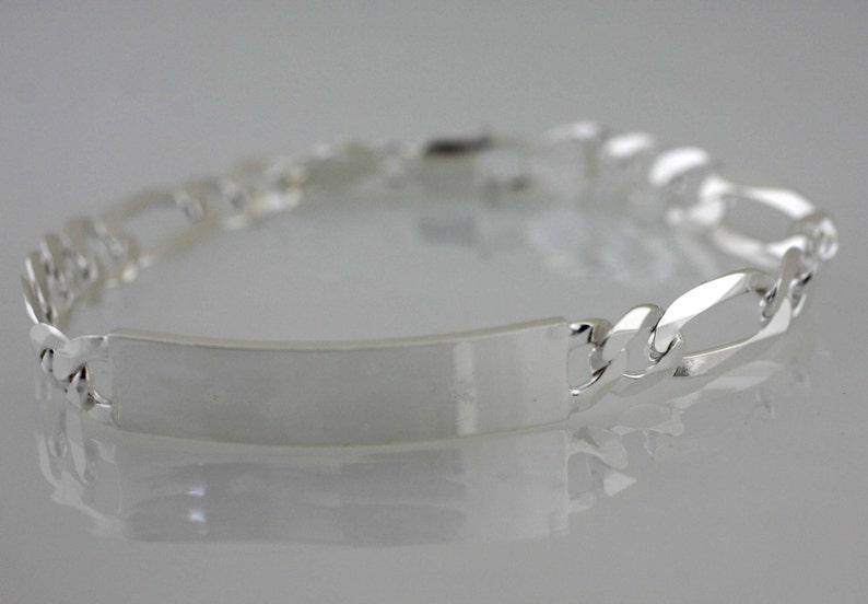 7.5 Engravable Solid Figaro ID Chain Bracelet Real Sterling Silver 925 4.5mm Fine Bracelets
