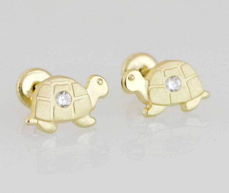 838498bdd 14K Gold Turtle Stud Earrings Gold Turtle Stud Earring Gold   Etsy